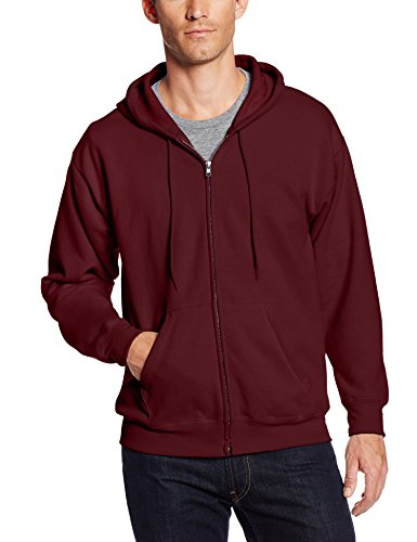 Hanes Men's Full-Zip Eco-Smart Fleece Hoodie, Maroon, Large