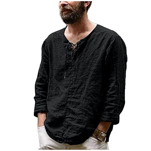 N\P Camisas de hombre de verano de manga larga de algodón y lino camisa de los hombres Tops
