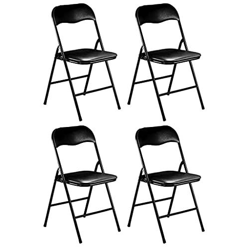 Milani Home s.r.l.s. Set di 4 Sedie Pieghevoli Slim Nere Opache Struttura Nera per Interno Sala da Pranzo Salotto Cucina Ufficio