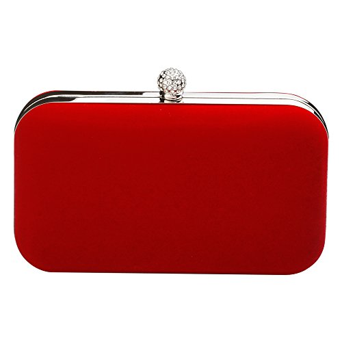Audixius Beliebte Damen Große Kapazität Abendtasche Handtasche Samt Tasche, Rot, Einheitsgröße