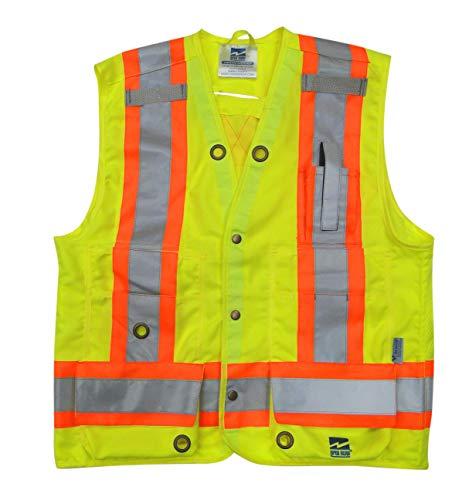 Viking 6165G-L Open Road Surveyor Safety-Vest-Vibrance 4-Inch Safety-Stripes-150D Polyester, Large, Fluorescent Green