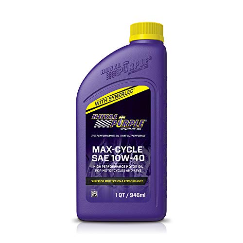 Royal Purple 01315 Max-Cycle SAE 10W-40 High Performance Motor Oil for Motorcycles & ATVs - 1 Quart