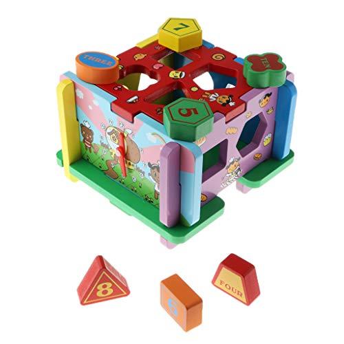 Homyl Montessori Juguete de Madera, Caja de Bloques de Números y Formas Geometrías con Reloj para Estimulación Temprana de Niños