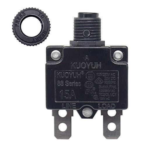 KUOYUH Circuit Breaker 88 series 125/250VAC 50/60Hz (3-17A) (1pc) (15 Amp)