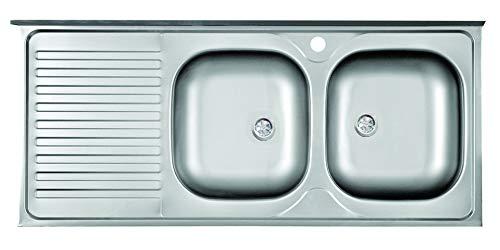 Lavello cucina appoggio in acciaio L 120 cm 2 vasche a destra