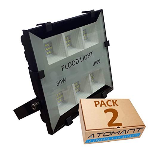 Pack 2x Foco Proyector LED compacto 30w. Color blanco frio (6500K), IP66. 3300 Lumenes. A++