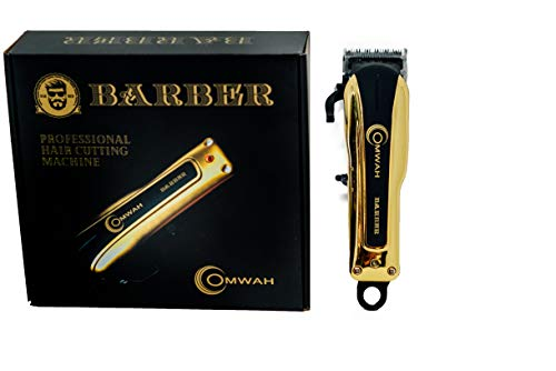 Omwah Professional High Performance Cordless Barber Hair Clipper Haircut Clippers Kit with 5 Magnetic Combs