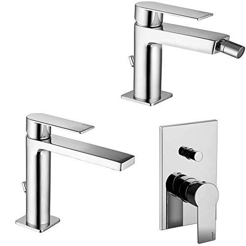 PAFFONI modello Tango kit miscelatore lavabo bidet e doccia a incasso con deviatore