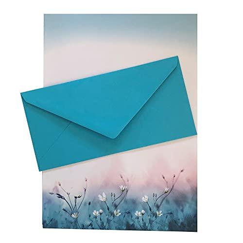 50 teiliges Briefpapier Set für Erwachsene Blumen mit Briefumschlägen, edel, DIN A4 Papier und farblich passenden Umschläge DIN lang ohne Fenster als Geschenk für Geburtstag, Hochzeit