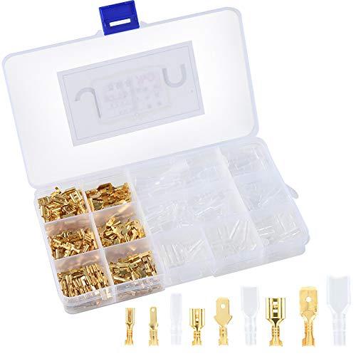 360 Unids Terminales de cable Crimp Macho Hembra Conector de bloque de terminales con kits de manga aislante, chapado en latón dorado (2.8 mm 4.8 mm 6.3 mm)