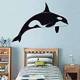 Calcomanías de vinilo de ballena para pared, silueta de ballena, animales de dibujos animados, bebés, niños, habitación, calcomanía de pared, arte, decoración del hogar, calcomanías 60X42CM Bkv0