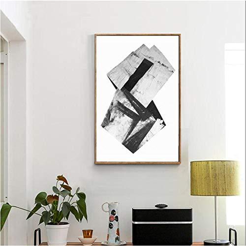 Rjunjie prints in wit en zwart, abstracte schilderijen op canvas, muurkunst, decoratie voor de woonkamer (60 x 90 cm zonder lijst)