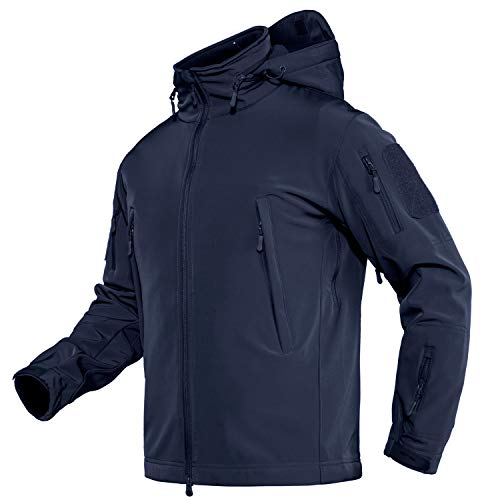 TACVASEN Men's Army Military Soft Shell Hooded Fleece Tactical Jacket Coat Navy, US L