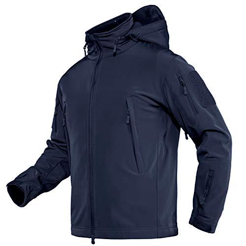 TACVASEN Men's Army Military Soft Shell Hooded Fleece Tactical Jacket Coat Navy, US L