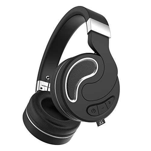 Feigner Auriculares Bluetooth inalámbricos Hi-Fi estéreo envolvente Auriculares plegables sobre la oreja, cancelación de ruido activa, graves pesados, inalámbricos, para la escuela, viajes, trabajo