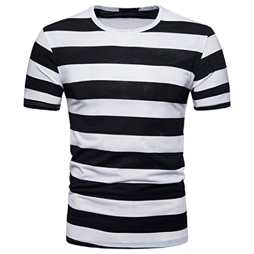 LHWY Shirt Herren, Mode Männer Sommer Casual Rundhalsausschnitt Pullover T-Shirt Top Bluse Trend Streetwear Gestreiftes Kurzärmliges Oberteil (M, Schwarz)