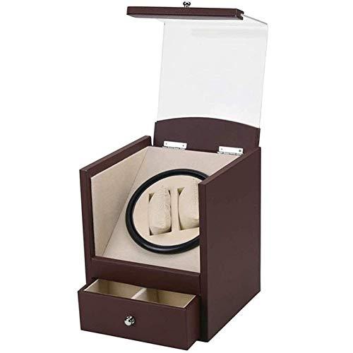 FFAN Automatischer Uhrenbeweger, Uhrenschüttler, 2-Positionen-Displayständer, großes transparentes Fenster mit lautlosem Motor, Holzwickler für Uhren