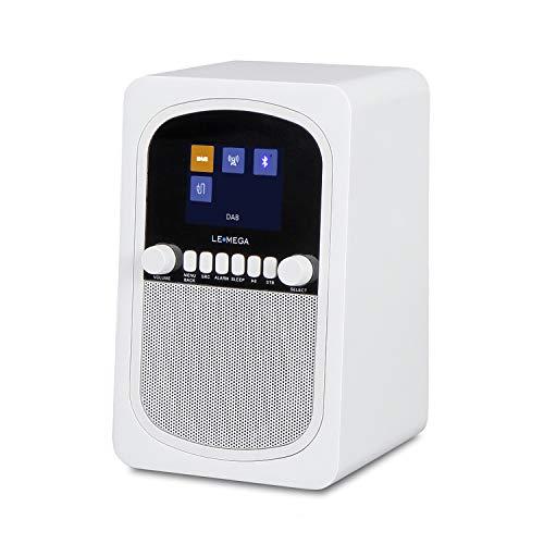 Radio digitale portatile DAB + & FM LEMEGA M1 con Bluetooth, doppi allarmi, orologio, sospensione, batteria integrata e display TFT a colori - bianco