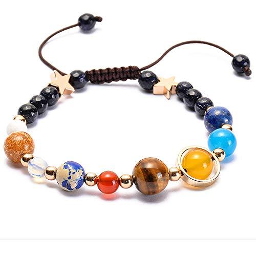 Yibaision Planet Armband Sonnensystem Universum Galaxie Armband Handgefertigt Naturstein Perlen Armband String Einstellbar Astronomie Geschenke Armreif FüR Frauen MäNner Kinder
