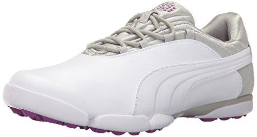 PUMA Golf Women's sunnylite v2 Golf Shoe, White-Gray Violet-Purple Cactus Flower, 6.5 Medium US