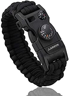 Survival Bracelet, Paracord Bracelet, Outdoors Survival Gear with Compass Fire Starter and Thermometer, Emergency Survival...