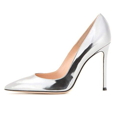 Soireelady Damen Pumps Spitz Zehe High Heels Stilettobsatz Schuhe Pumps Silber 37