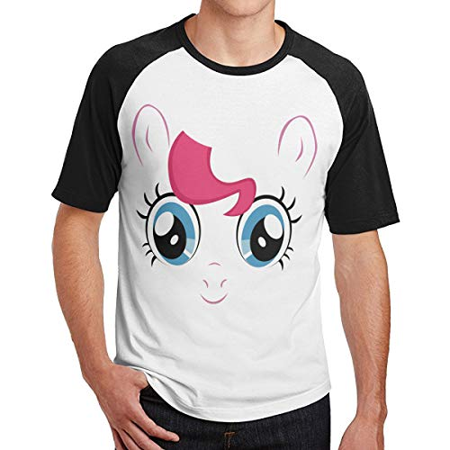 WoodWorths My Little Pony Pinkie Pie Big Face Hombres Camiseta de Manga Corta Camiseta de Fitness Camisetas Contraste