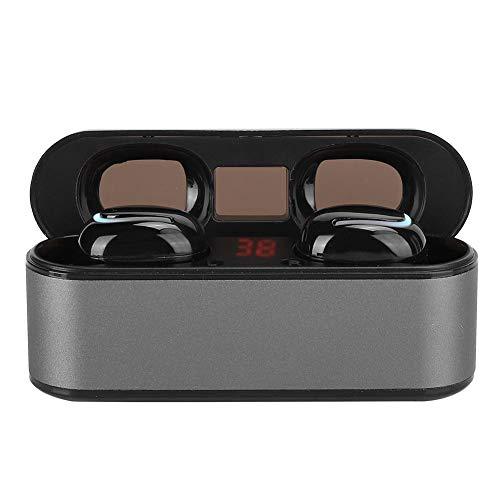 PUSOKEI Mini Auriculares inalámbricos con Bluetooth, Auriculares estéreo inalámbricos con Pantalla LED, Sonido HiFi, Auriculares con Carga automática magnética para Entrenamientos en ejecución(Gris)