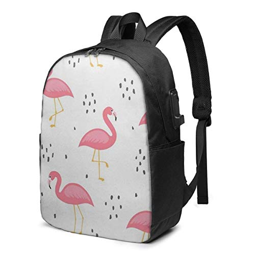 Flamingo Cute Pattern Laptop Backpack Durable Laptops Backpack with USB Charging Port College School Computer Bag and Notebook Black