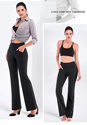 IUGA Bootcut Yoga Pants with Pockets for Women High Waist Workout Bootleg Pants Tummy Control, 4 Pockets Work Pants for Women Black