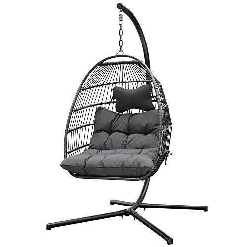 Patio Schaukelstühle Black Rattan Effect Four Corners Hanging Egg Chair mit Sitzkissen Home Garden Yard Indoor Outdoor Hängemattenstuhl Max Lastgewicht 265lbs ( Farbe : Grau , Size : 43×43×74inch )