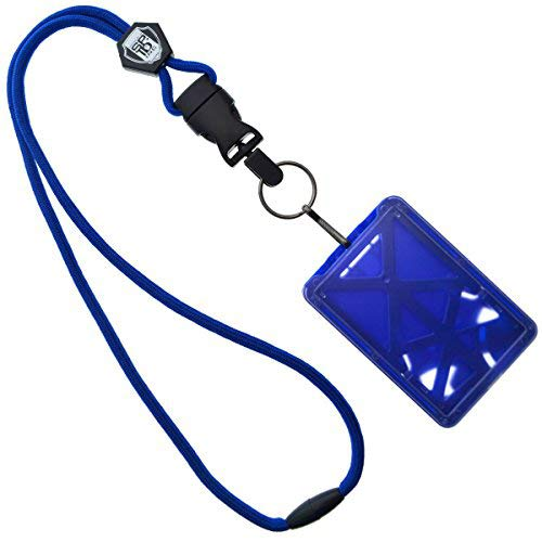 Specialist ID Vertical Top Load Three Card Badge Holder - Hard Plastic with Heavy Duty Breakaway Lanyard w Quick Release Metal Clip & Key Ring (One Holder / 3 Cards Inside) (Royal Blue)