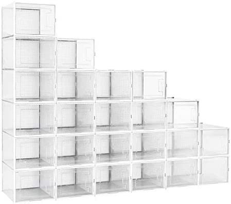 Crestlive Products 24 Pack Shoe Storage Box Plastic Foldable Shoe Box Stackable Clear Shoe Organizer product image