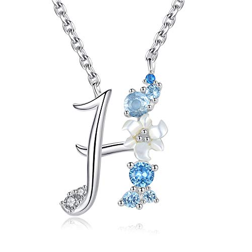 VIKI LYNN Letter H Initial Necklace 925 Sterling Silver Cubic Zirconia Personalised Gifts for Girls