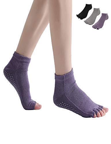 ヨガ ソックス 靴下 3色3足組 綿100% コットン スポーツ 靴下 5本指 指なし 滑り止め