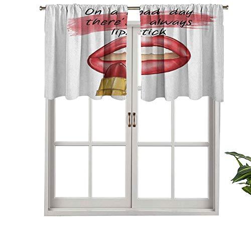 """Hiiiman Cortinas cortas rectas con bolsillo para barra de cocina, con mensaje en inglés """"Bad Day"""" y texto en inglés """"Good MakeUp"""", juego de 2, 137 x 60 cm para sala de estar"""