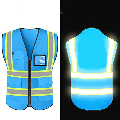 High Reflective Visibility Safety Vest Protective Safety Workwear with Reflective Strips and Front Zipper(Blue-XXLarge)