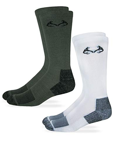 Realtree Herren Damen Kinder Insect Shield Crew Socken 2er-Pack, Medium, Weiß/Olivgrün