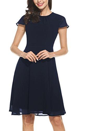 Zeagoo Damen Elegant Chiffonkleid Sommerkleid Partykleid Hochzeit Festliches Kleid A Linie Kurzarm Knielang Blau(A) L