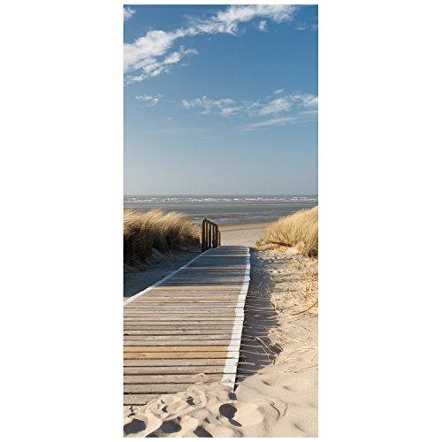 wandmotiv24 Türtapete Nordseestrand TT303 90x200cm Tapete Düne Himmel Sand