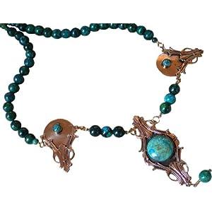 Antique Brass Art Deco Chrysocolla Necklace
