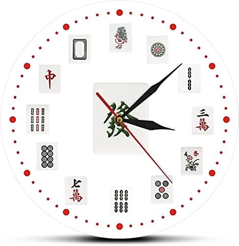 Reloj de pared Mahjong Art decorativo reloj de pared chino mahjong azulejos moderno impreso acrílico reloj de pared torneos fiesta juego decoración