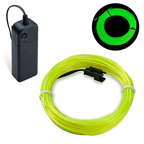 COVVY Wasserdicht Flexibel 3M 9 FT Neon Beleuchtung Lichtschlauch Leuchtschnur EL Kabel Wire mit 3 Modis für Disco Party Kinder Halloween Kostüm Kleidung Weihnachtsfeiern (Grün, 5M)