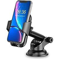 Cocoda Soporte Movil Coche, Salpicadero/Parabrisas Soporte Móvil para Coche, 360° Rotación Brazo Extensible Sujeta Porta Movil Coche con Botón de Liberación Rápida para iPhone Samsung Huawei ect