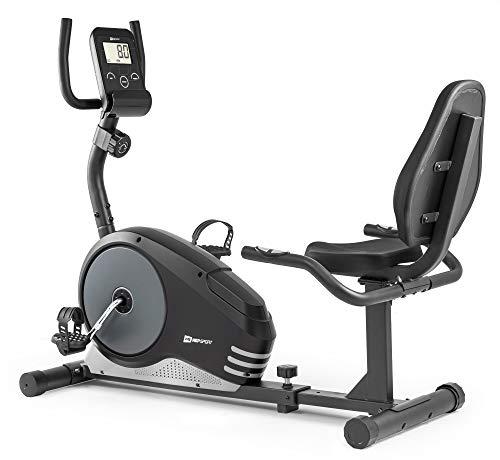 Hop-Sport Root Liegeergometer - Liegeheimtrainer mit Handpulssensoren, 9,5 kg Schwungmasse, 8 Widerstandsstufen - Sitzergometer max. Benutzergewicht 120 kg (Silber)