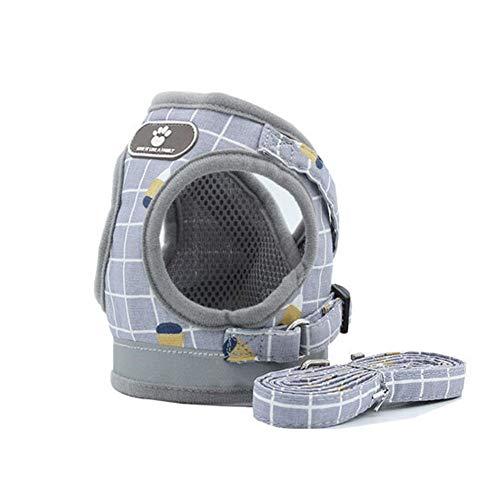 WTBH Juego de arnés y correa de malla de nailon para perros y gatos, para perros pequeños, correa para perros (color: gris, tamaño: M)