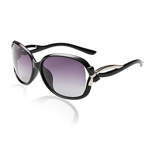 Duco Lunettes de Soleil polarisées pour Femmes 100% Protection UV - 2229 (Cadre noir Objectif gris)