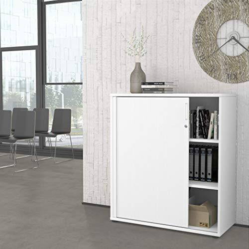 Weber Büroleben GmbH Profi Jalousieschrank Weiß 3OH Quer-Rolladenschrank Aktenschrank Archivschrank