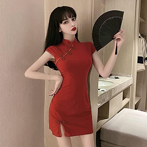 CIDCIJN Vestito Cinese - Donne Stile Cinese retrò Cheongsam Rosso Rosa Qipao Abiti, Nightclub Bar Danza Sexy Bodycon Mini Gonna Party Mini Abito, Rosso, S