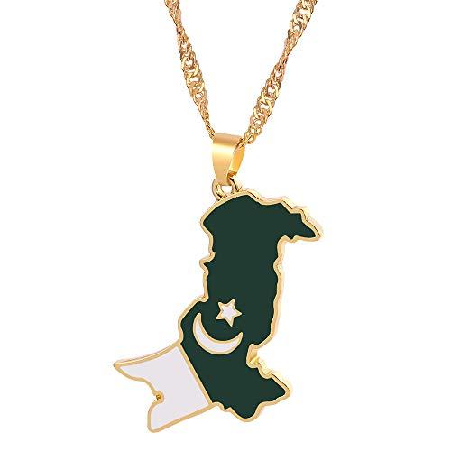 Collar De Mapa,Unisex Elegante Bandera De Pakistán Contorno Cadena Dorada Mapa Colgante Collar Único Encanto Étnico Joyería para Mujeres Niños Hombre Niña Viajes Cumpleaños Boda Conmemorar Re
